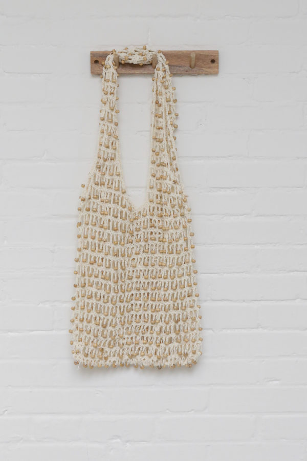 Tote bag met kralen, off white
