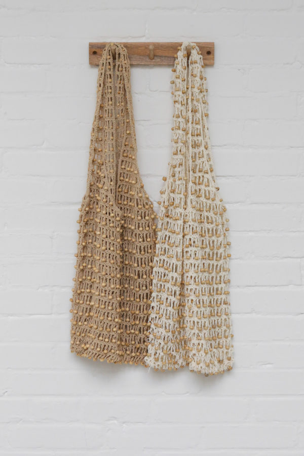 Tote bag met kralen, natural en off white